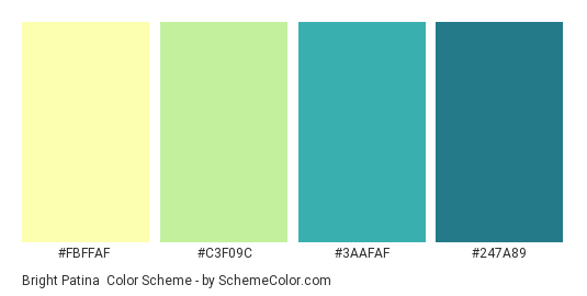 Bright Patina - Color scheme palette thumbnail - #FBFFAF #C3F09C #3AAFAF #247A89