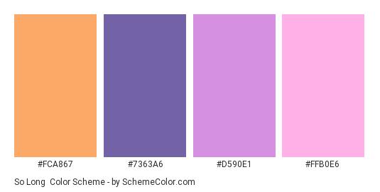 So Long - Color scheme palette thumbnail - #FCA867 #7363A6 #D590E1 #FFB0E6