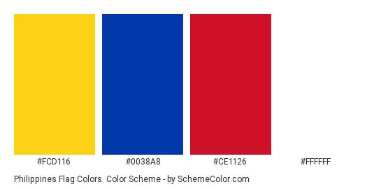 Philippines Flag Colors - Color scheme palette thumbnail - #FCD116 #0038A8 #CE1126 #FFFFFF