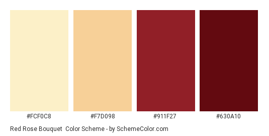 Red Rose Bouquet Color Scheme Palette Thumbnail Fcf0c8 F7d098 911f27