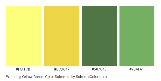 Wedding Yellow Green Color Scheme Palette Thumbnail Fcff7b Ecd647 507645
