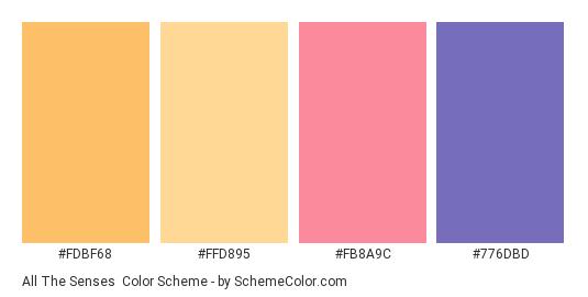 All the Senses - Color scheme palette thumbnail - #FDBF68 #FFD895 #FB8A9C #776DBD