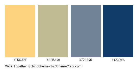 Work Together - Color scheme palette thumbnail - #FDD37F #BFBA90 #728395 #123D6A