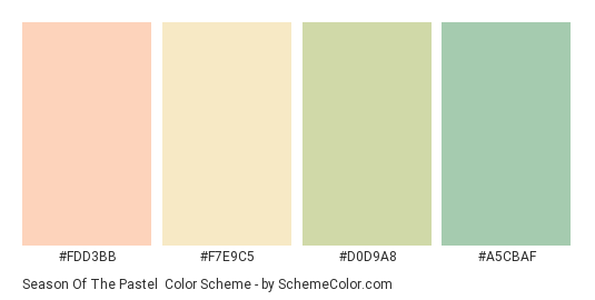 Season of the Pastel - Color scheme palette thumbnail - #FDD3BB #F7E9C5 #D0D9A8 #A5CBAF