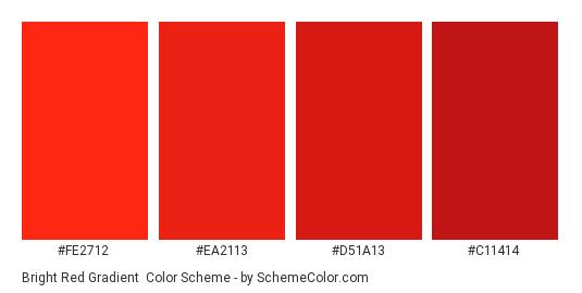 Bright Red Gradient - Color scheme palette thumbnail - #FE2712 #EA2113 #D51A13 #C11414