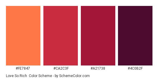 Love So Rich - Color scheme palette thumbnail - #FE7847 #CA2C3F #A21738 #4C0B2F