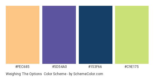 Weighing the Options - Color scheme palette thumbnail - #FEC685 #5D54A0 #153F66 #C9E175