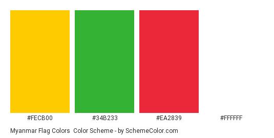 Myanmar Flag Colors - Color scheme palette thumbnail - #FECB00 #34B233 #EA2839 #FFFFFF