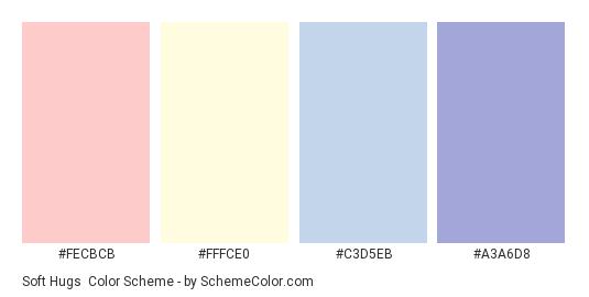Soft Hugs - Color scheme palette thumbnail - #FECBCB #FFFCE0 #C3D5EB #A3A6D8