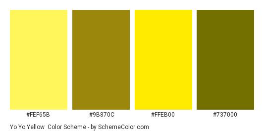 Yo Yo Yellow - Color scheme palette thumbnail - #FEF65B #9B870C #FFEB00 #737000