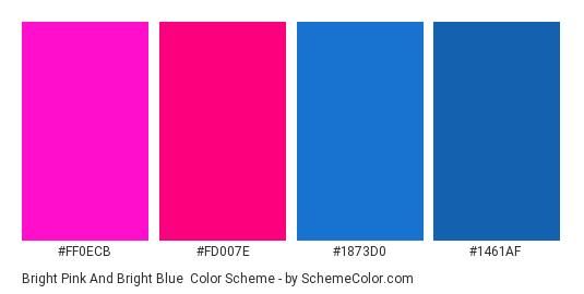 Bright Pink And Blue Color Scheme Palette Thumbnail Ff0ecb Fd007e