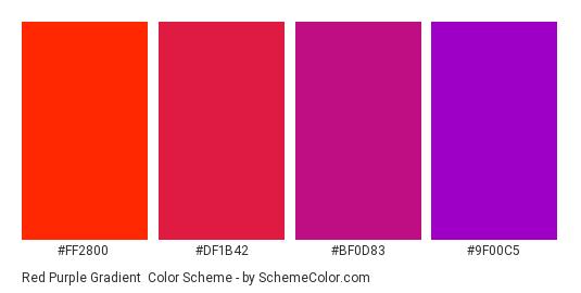 Red Purple Gradient - Color scheme palette thumbnail - #FF2800 #DF1B42 #BF0D83 #9F00C5