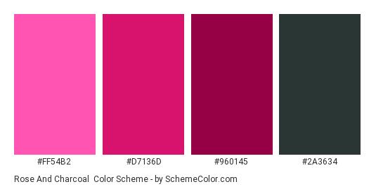 Rose and Charcoal - Color scheme palette thumbnail - #FF54B2 #D7136D #960145 #2A3634
