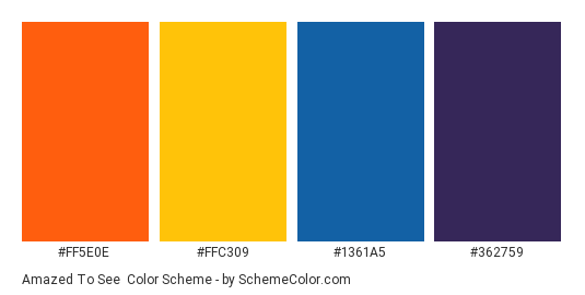 Amazed to See - Color scheme palette thumbnail - #FF5E0E #FFC309 #1361a5 #362759