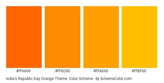 India's Republic Day Orange Theme - Color scheme palette thumbnail - #FF6600 #FF8C00 #FFA000 #FFBF00