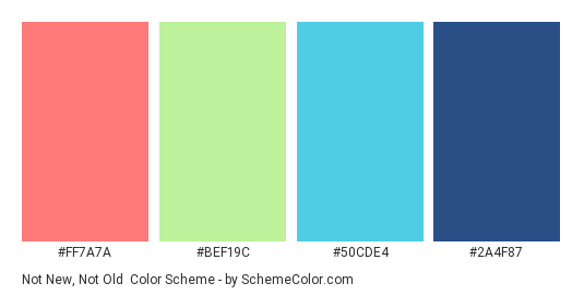 Not new, Not Old - Color scheme palette thumbnail - #FF7A7A #BEF19C #50CDE4 #2A4F87
