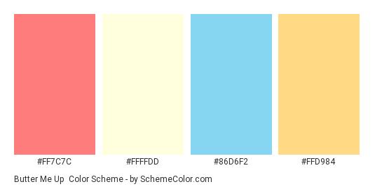 Butter Me Up - Color scheme palette thumbnail - #FF7C7C #FFFFDD #86D6F2 #FFD984