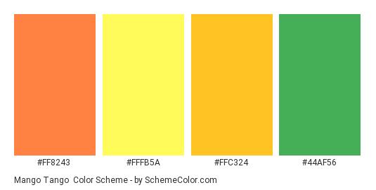Mango Tango - Color scheme palette thumbnail - #FF8243 #FFFB5A #FFC324 #44AF56