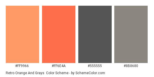 Retro Orange and Grays - Color scheme palette thumbnail - #FF9966 #FF6E4A #555555 #8B8680