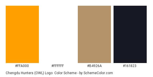 Chengdu Hunters (OWL) Logo - Color scheme palette thumbnail - #FFA000 #FFFFFF #B4926A #161823