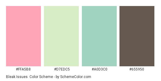 Bleak Issues - Color scheme palette thumbnail - #FFA5B8 #D7EDC5 #A0D3C0 #655950