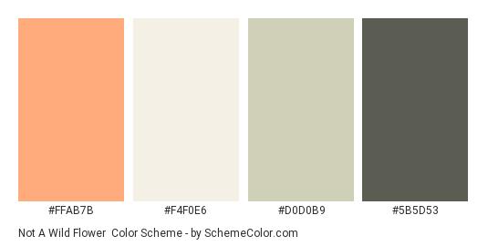 Not a Wild Flower - Color scheme palette thumbnail - #FFAB7B #F4F0E6 #D0D0B9 #5B5D53