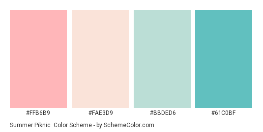 Summer Piknic - Color scheme palette thumbnail - #FFB6B9 #FAE3D9 #BBDED6 #61C0BF