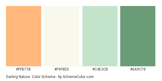 Darling Nature - Color scheme palette thumbnail - #FFB77B #F9F8ED #C4E3CB #6A9C78