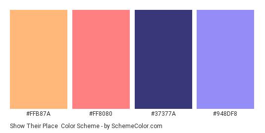 Show Their Place - Color scheme palette thumbnail - #FFB87A #FF8080 #37377A #948DF8