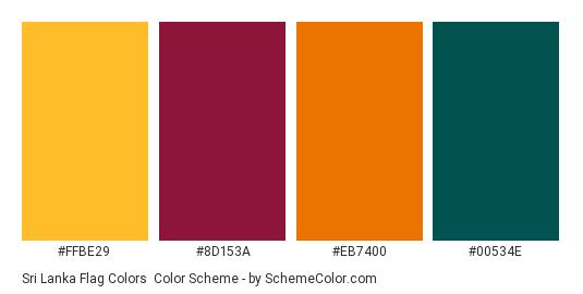 Sri Lanka Flag Colors - Color scheme palette thumbnail - #FFBE29 #8D153A #EB7400 #00534E
