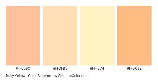 Baby Yellow & Orange - Color scheme palette thumbnail - #FFC09C #FFDFB5 #FFF3C4 #FFBC82
