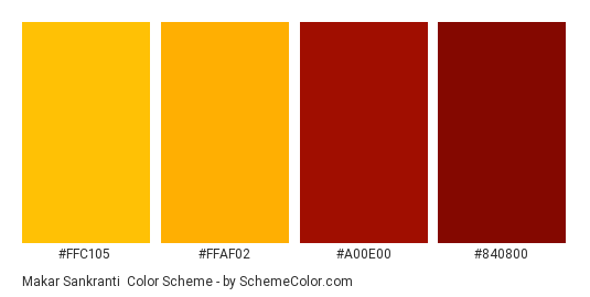 Makar Sankranti - Color scheme palette thumbnail - #FFC105 #FFAF02 #A00E00 #840800