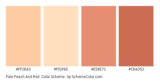 Pale Peach and Red - Color scheme palette thumbnail - #FFCBA3 #FFDFBE #E58E72 #CB6D52