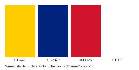 Venezuela Flag Colors - Color scheme palette thumbnail - #FFCC00 #00247D #CF142B #FFFFFF