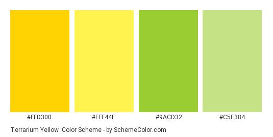 Terrarium yellow - Color scheme palette thumbnail - #FFD300 #FFF44F #9ACD32 #C5E384