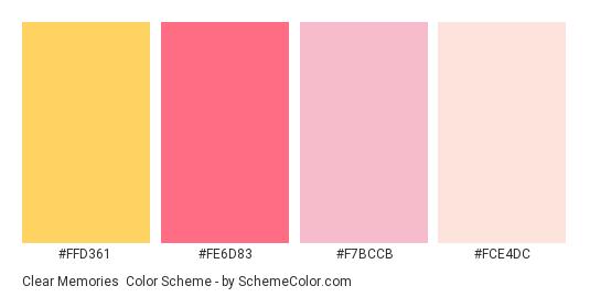 Clear Memories - Color scheme palette thumbnail - #FFD361 #FE6D83 #F7BCCB #FCE4DC