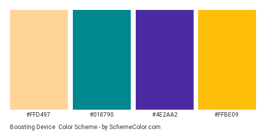 Boosting Device - Color scheme palette thumbnail - #FFD497 #018790 #4e2aa2 #FFBE09