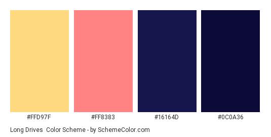 Long Drives - Color scheme palette thumbnail - #FFD97F #FF8383 #16164D #0C0A36