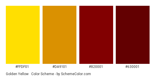 Golden Yellow & Maroon - Color scheme palette thumbnail - #FFDF01 #DA9101 #820001 #630001