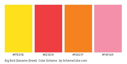 Big Bird (Sesame Street) - Color scheme palette thumbnail - #FFE01B #EE3E41 #F6821F #F491A9