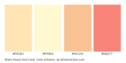 Warm peach and Coral - Color scheme palette thumbnail - #FFE5B3 #FFF8D0 #F8C293 #F88377