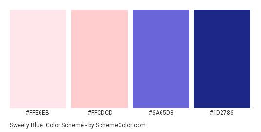 Sweety Blue - Color scheme palette thumbnail - #FFE6EB #FFCDCD #6A65D8 #1D2786