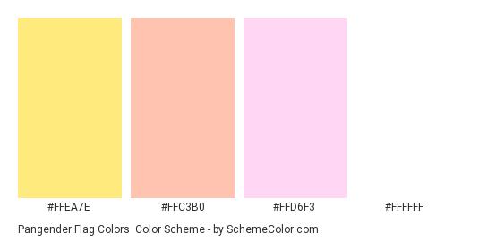 Pangender Flag Colors - Color scheme palette thumbnail - #FFEA7E #FFC3B0 #FFD6F3 #FFFFFF