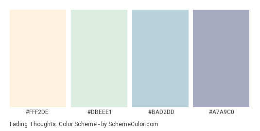 Fading Thoughts - Color scheme palette thumbnail - #FFF2DE #DBEEE1 #BAD2DD #A7A9C0