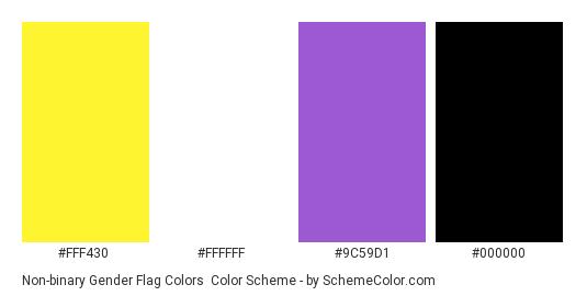 Non-binary Gender Flag Colors - Color scheme palette thumbnail - #FFF430 #FFFFFF #9C59D1 #000000