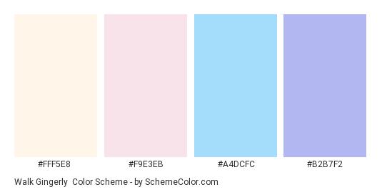 Walk Gingerly - Color scheme palette thumbnail - #FFF5E8 #F9E3EB #A4DCFC #B2B7F2