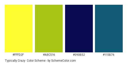 Typically Crazy - Color scheme palette thumbnail - #FFFD2F #A8C516 #090B52 #115B76