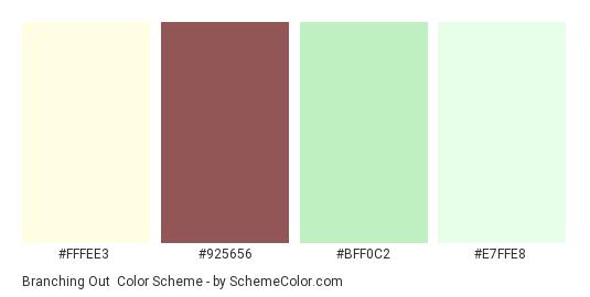 Branching Out - Color scheme palette thumbnail - #FFFEE3 #925656 #BFF0C2 #E7FFE8