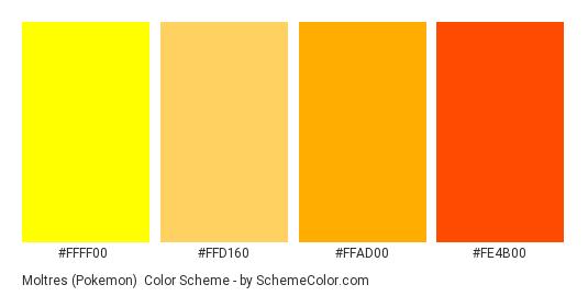 Moltres (Pokemon) - Color scheme palette thumbnail - #FFFF00 #FFD160 #FFAD00 #FE4B00