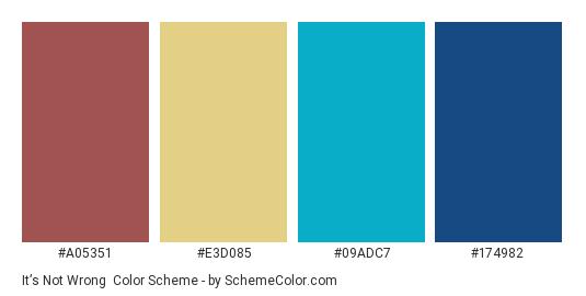 It's not Wrong - Color scheme palette thumbnail - #a05351 #e3d085 #09adc7 #174982